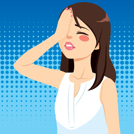 Disappointed young woman covering face with hand making facepalm gesture negative emotion facial expression Illustration