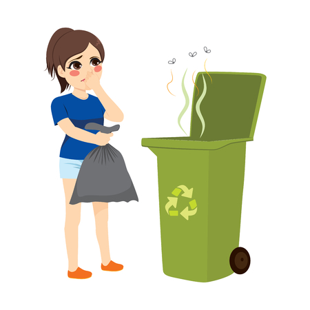 Woman holding stinky trash bag and throwing it on recycle bin