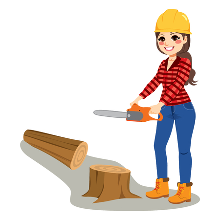 Young brunette standing woman cutting tree wood with chainsaw