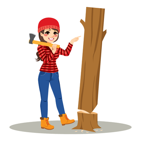 Attractive female lumberjack pushing cut tree easy concept