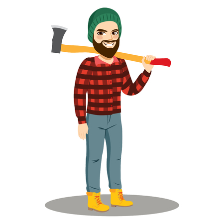 Young strong male with beard lumberjack holding axe on shoulder smiling