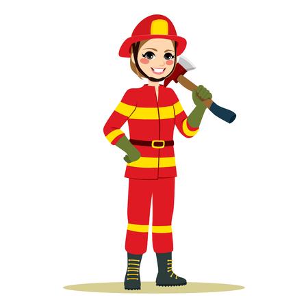 Feliz mujer bombero en uniforme rojo de pie sosteniendo el hacha trabajando en el papel masculino tradicional Ilustración de vector