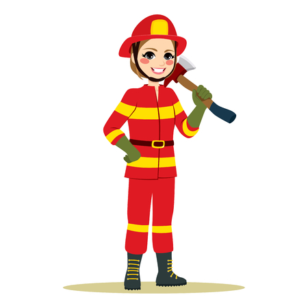 Happy female firefighter in red uniform standing holding axe working in traditional male role