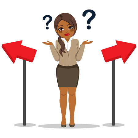 Giovane imprenditrice afroamericana nera con espressione faccia confusa dubitando concetto di scelta di direzione