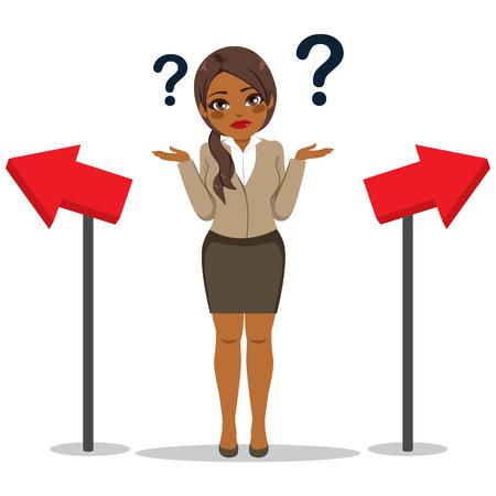 Junge schwarze afroamerikanische Geschäftsfrau mit verwirrtem Gesichtsausdruck, der Richtungswahlkonzept bezweifelt
