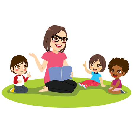 Young female kindergarten teacher explaining lesson reading book to attentive kids sitting on floor Illustration