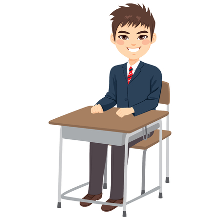 Young cute teenager student boy sitting on school desk