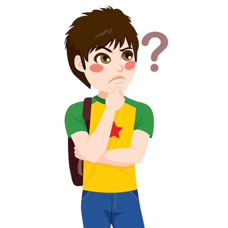 Ragazzo giovane studente che osserva in su con la mano sul mento pensando dubitando e punto interrogativo sul lato