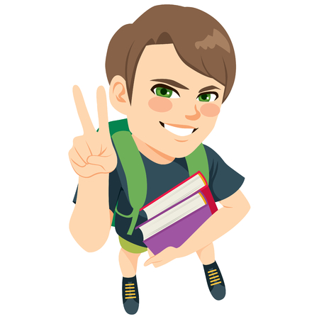 Young student boy holding books and backpack making victory hand sign gesture Illustration