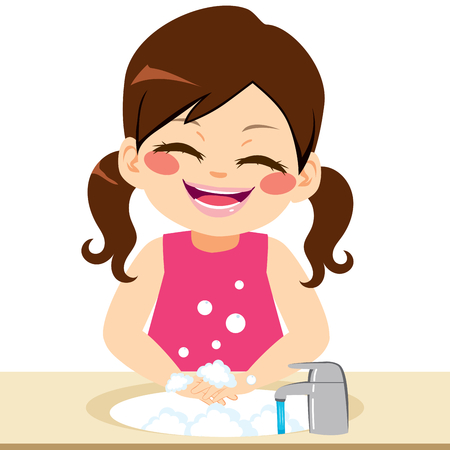 Cute little happy smiling girl washing hands on bathroom with running water and soap