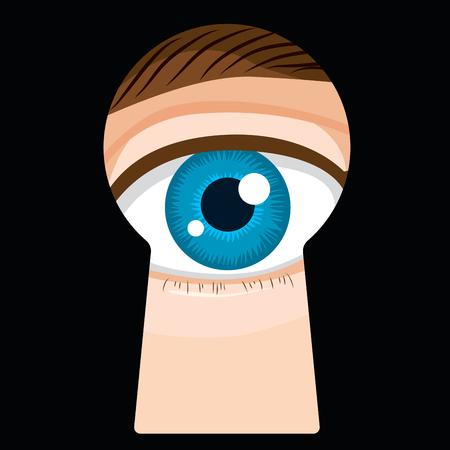 Male eye looking through dark door keyhole