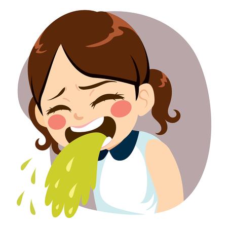Sweet little girl throwing up puke vomiting
