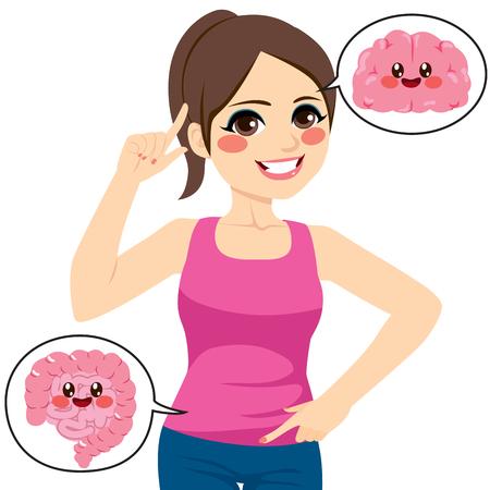 Hermosa joven apuntando su cerebro e intestino Ilustración de vector