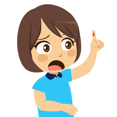 Jolie petite fille avec le bras vers le haut montrant une coupure blessée au doigt qui saigne Vecteurs