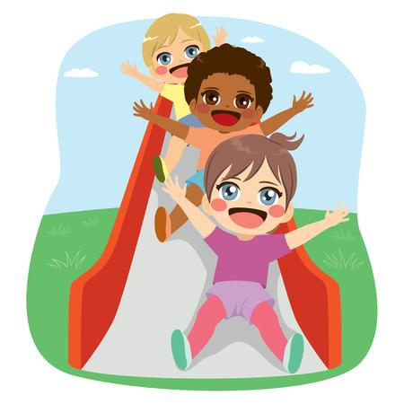 Cute little friends kids divirtiéndose juntos en el parque de diapositivas en el parque Ilustración de vector