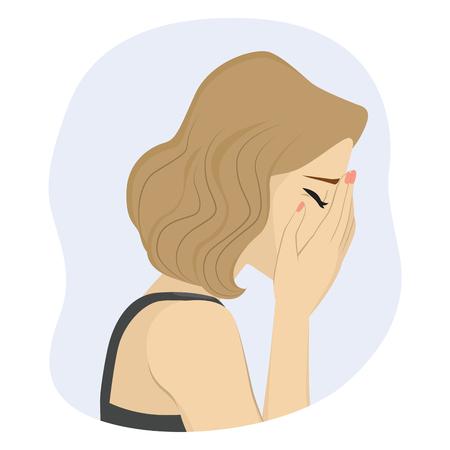 Mujer que cubre su rostro con las manos llorando triste concepto de mal humor