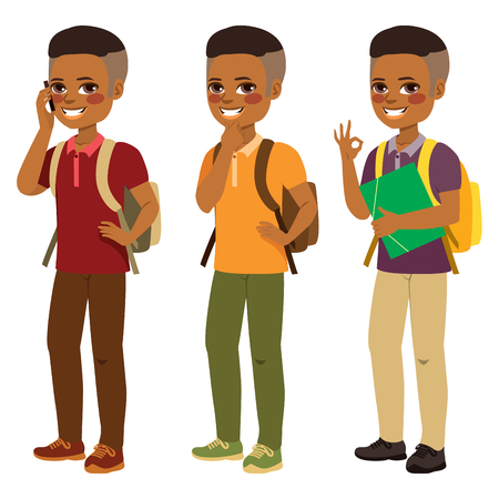 Young happy smiling African American student boy standing in different pose