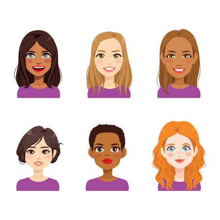 Collection de jeu de portrait avatar beau visage de femme diversifiée Vecteurs