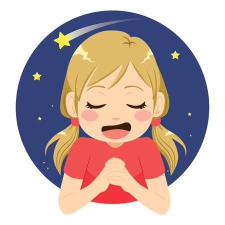 Hermosa niña pidiendo deseos rezando a la estrella fugaz con expresión de cara feliz