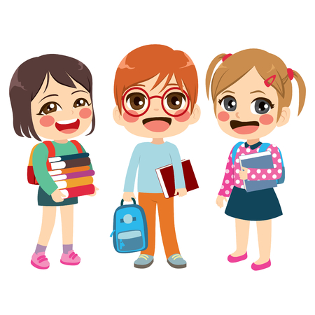 Three cute friendly children students standing together holding books and carrying backpacks back to school concept