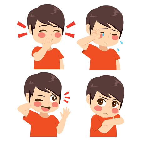 Little boy different face and gesture expression set collection