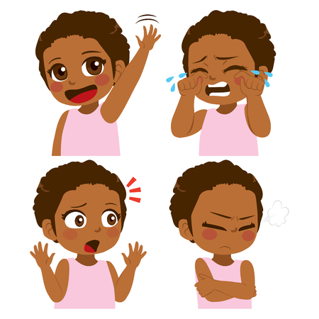Little African American girl different face and gesture expression set collection