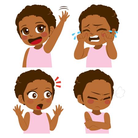 Unterschiedliches Gesicht und Gestenausdrucksset des kleinen afroamerikanischen Mädchens