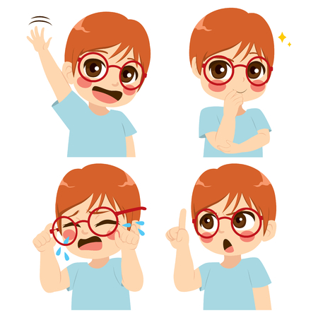Little cute boy with glasses making different face and gesture expression set collection