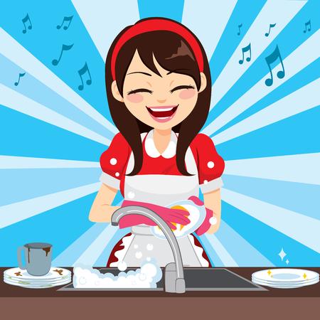 Bella giovane casalinga con vestito rosso stile retrò lavare i piatti e cantare felice in cucina Vettoriali