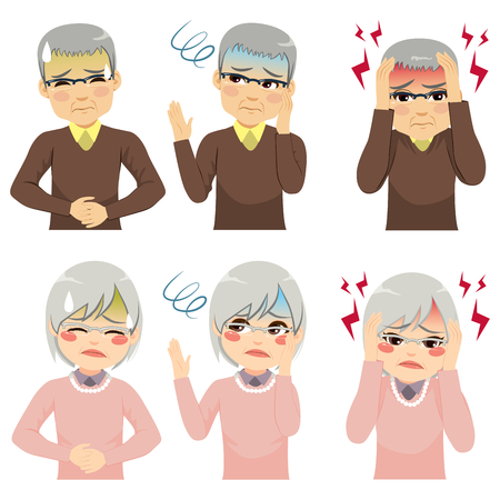 Senior people suffering from headache stomachache fainting different health symptoms concept