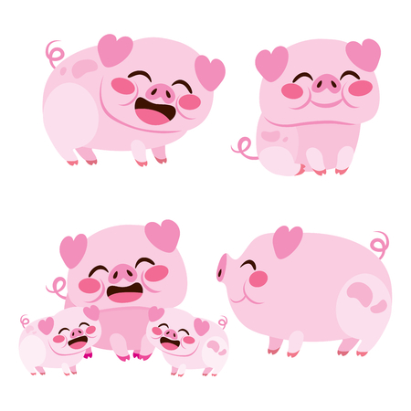 Cute set collection of happy pig smiling sitting and mother with piglets isolated on white background