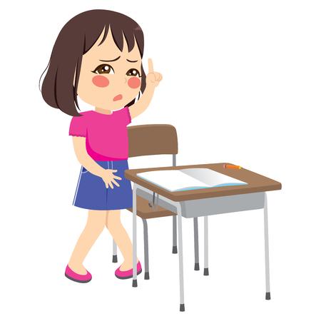 Niedliche kleine junge Studentin, die Hand hebt und um Erlaubnis bittet, zum Toilettenpinkkonzept zu gehen Vektorgrafik