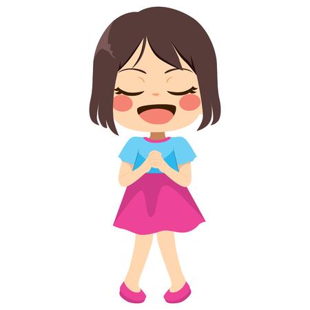 Bambina sveglia con le mani in preghiera che esprimono il desiderio Vettoriali