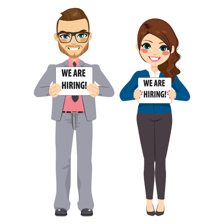 Young man and woman business people holding white board with we are hiring text standing