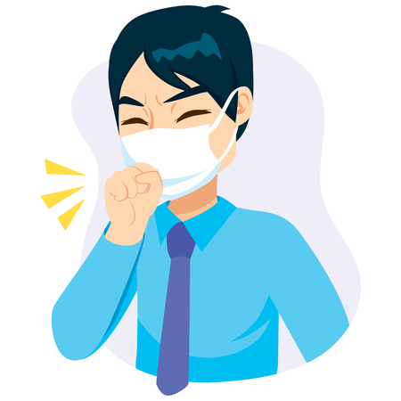 Young businessman with fist in front of mask coughing Иллюстрация