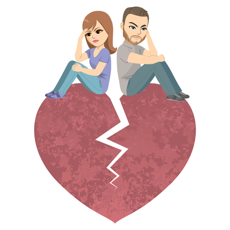 Wütendes Paar, das auf dem großen roten Scheidungsargument-Trennungskonzept des gebrochenen Herzens sitzt Vektorgrafik