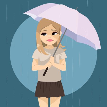 Triste chica solitaria sosteniendo paraguas en día de lluvia