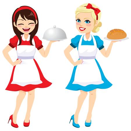 Zwei verschiedene glückliche brünette und blonde Frauen 50er Jahre Vintage Kleid Hausfrau Stil halten Tablett und Brot Vektorgrafik