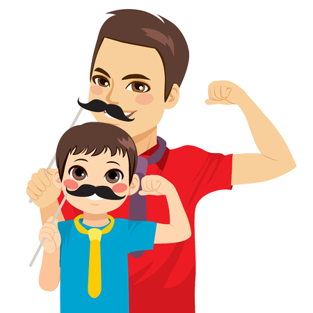 Netter lustiger Mannvater und Kindersohn, die schwarze Schnurrbartmaske tragen