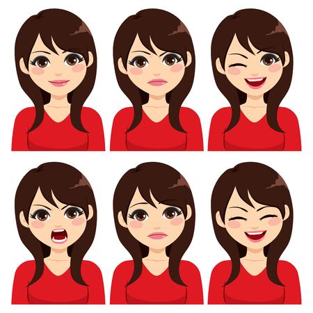 Aantrekkelijke jonge lang haar donkerbruine vrouw op zes verschillende geplaatste gezichtsuitdrukkingen