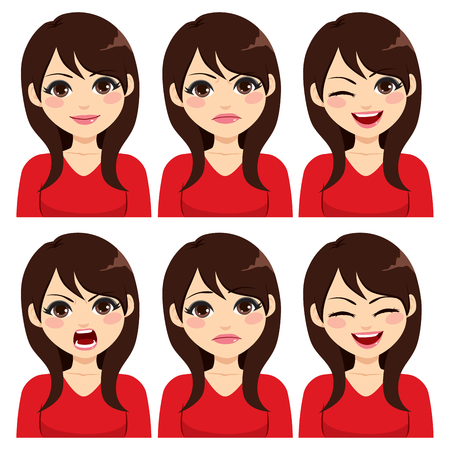 Attractive young long hair brunette woman on six different face expressions set Illustration