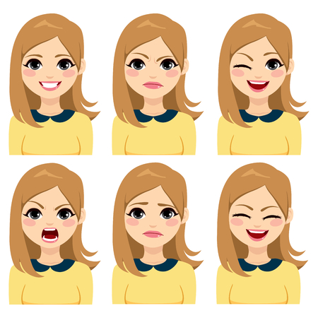 Attractive young long hair blonde woman on six different face expressions set