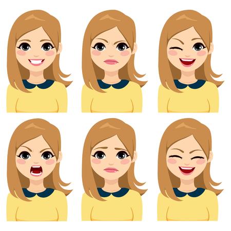 Attraktive junge blonde Frau des langen Haares auf sechs verschiedenen Gesichtsausdrücken eingestellt