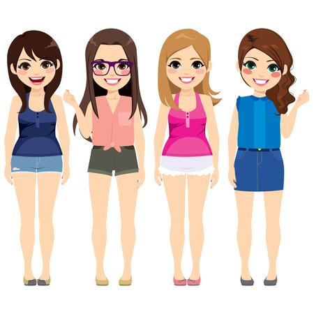 Gruppo di quattro belle ragazze di moda che indossano abiti estivi stile diverso Vettoriali