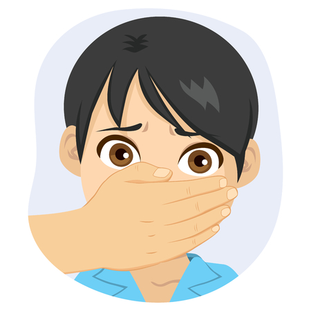 Scared young boy with adult male hand covering his mouth abuse concept