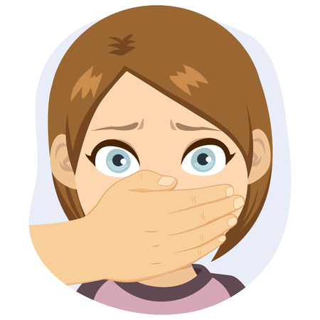 Scared young girl with adult male hand covering his mouth abuse concept