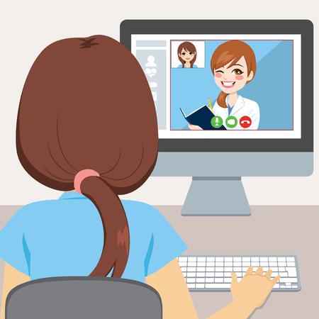 Jonge vrouw die computer gebruikt om met haar concept van de artsen online overleg te praten Vector Illustratie
