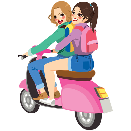 Two lovely girls friends on a trip riding motorbike