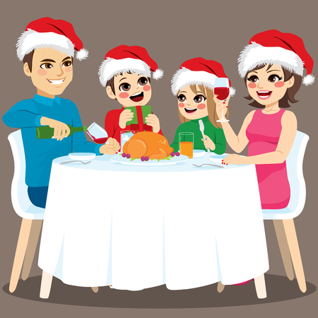 Cute lovely four family members Christmas dinner together happy sitting on round table with food and drink