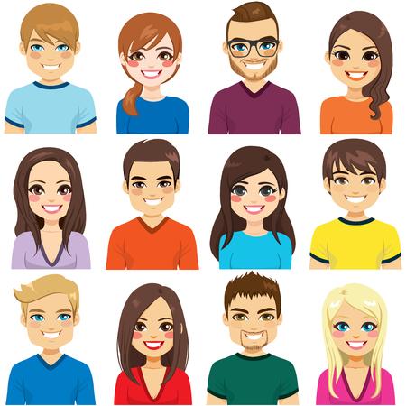 Collection de douze portraits d'avatar de personnes différentes
